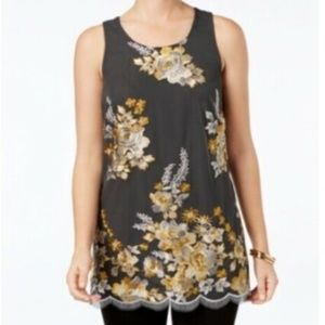 Charter Club Embroidered Tank Top, L